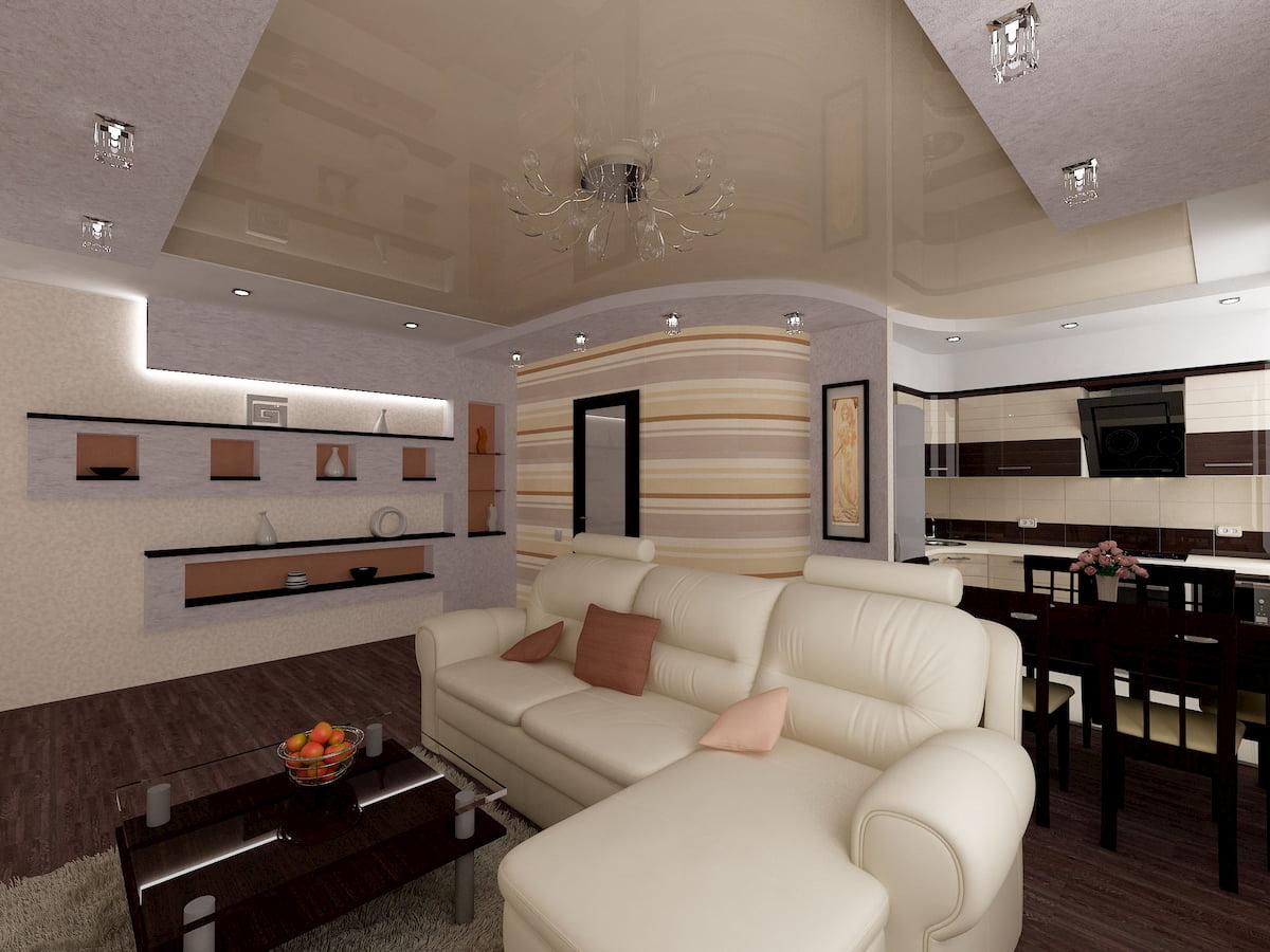 Потолок для гостиной-студии #11