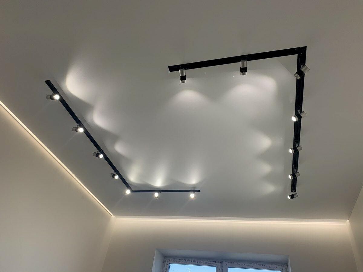 Натяжной потолок с трековыми светильниками 16