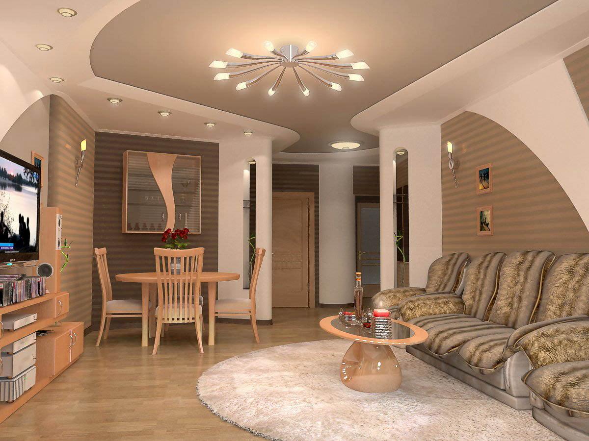 Потолок для гостиной-студии #18