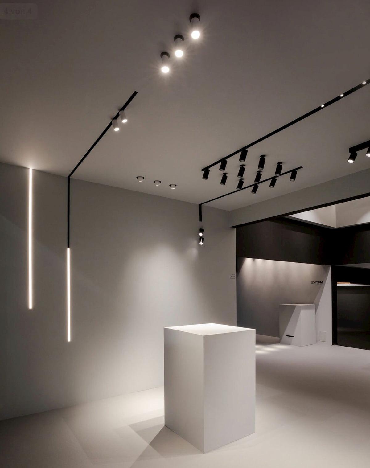 Натяжной потолок с трековыми светильниками 2