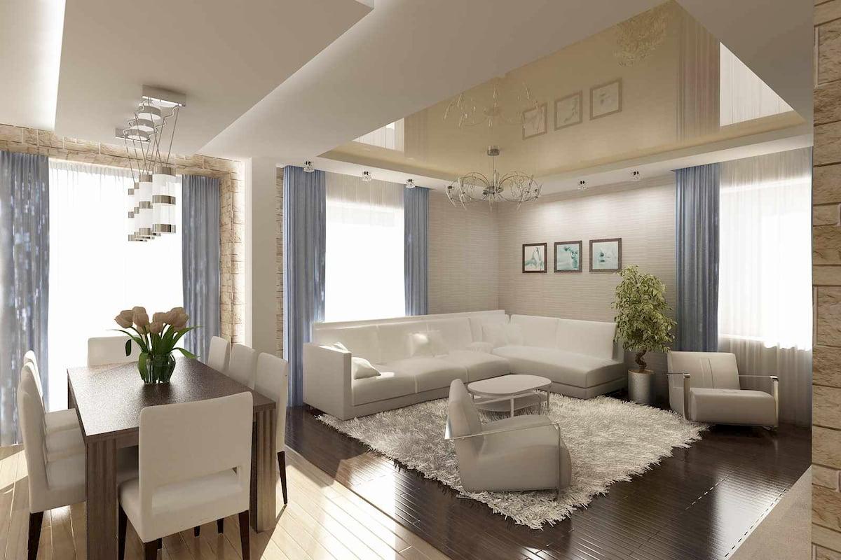 Потолок для гостиной-студии #19