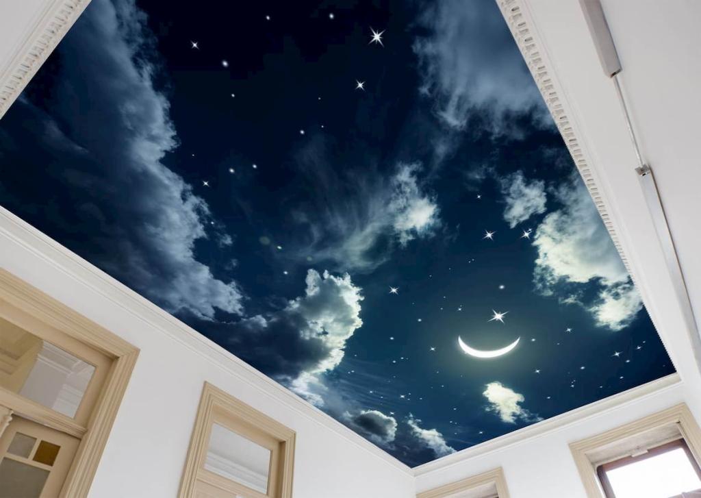 Натяжные потолки небо с облаками