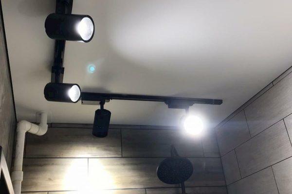 натяжные потолки с трековыми светильниками